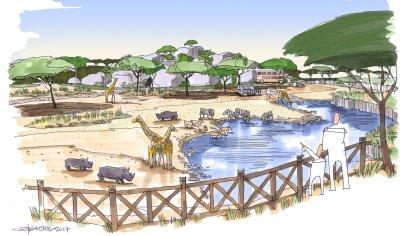 Visualisierung Lewa Savanne, Wasserloch.; Bildquelle: Zoo Zürich, Gary Brown